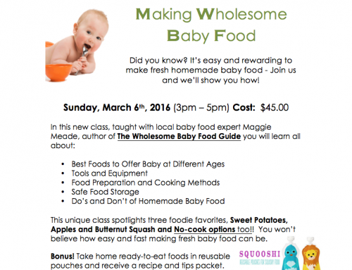 Homemade Baby Food Class – March 06, 2016 in NH